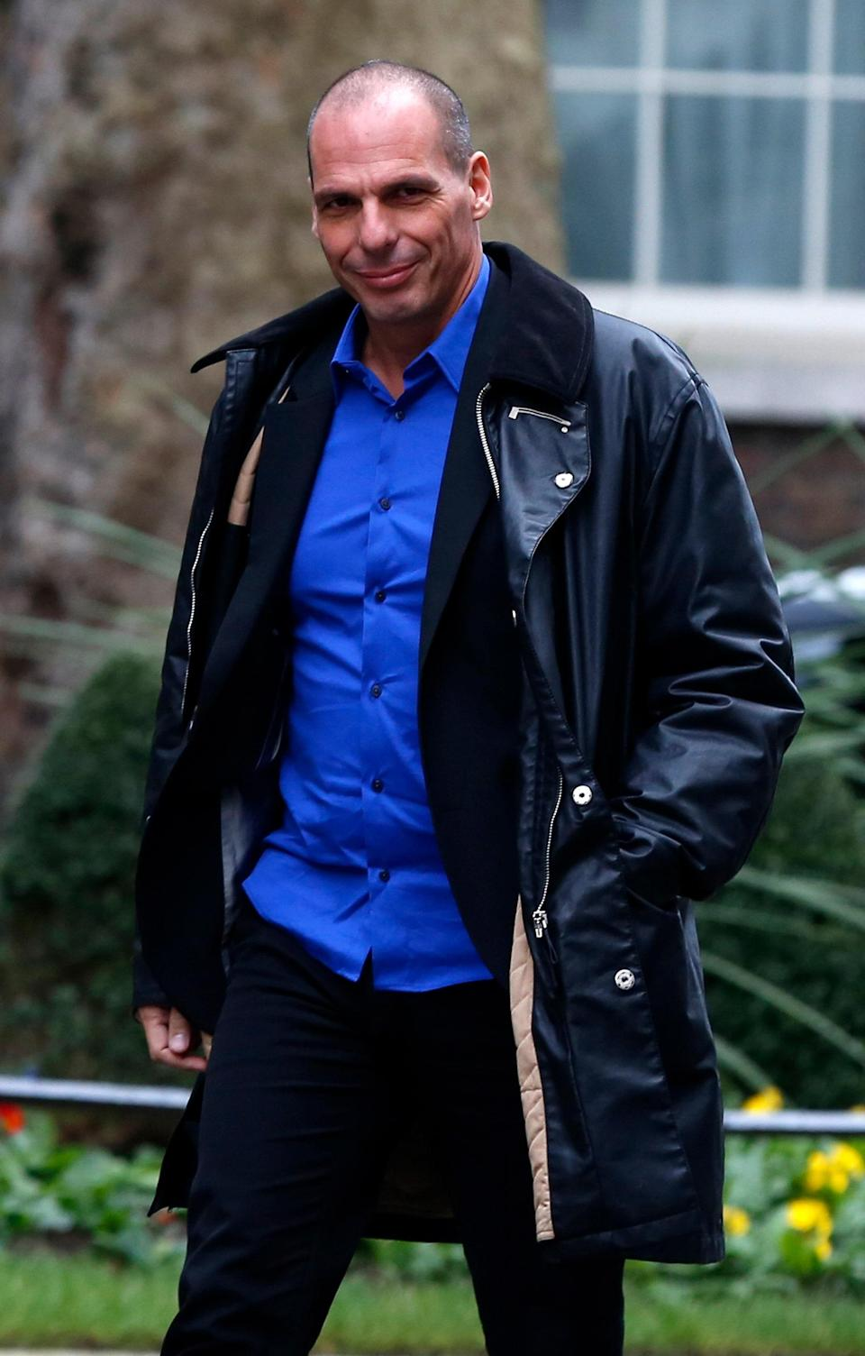 Former Finance Minister of Greece, Yanis Varoufakis, arrives for a meeting with Britain's Finance Minister, George Osborne, in London, February 2, 2015.