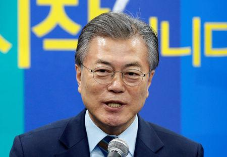 The Democratic Party's candidate for the presidential primary Moon Jae-in makes a speech at an event to declare their fair contest in the partyÕs presidential primary in Seoul