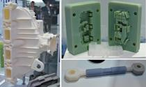 3D-printed parts displayed by Ford. Clockwise, from left: a prototype intake manifold, injection molding die used to make small plastic parts, and prototype tie rod.