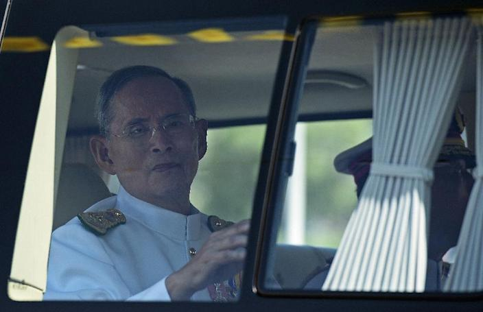 Thai King Bhumibol Adulyadej has spent most of the past two years hospitalised for a series of ailments, with very few public appearances and speeches (AFP Photo/Christophe Archambault)