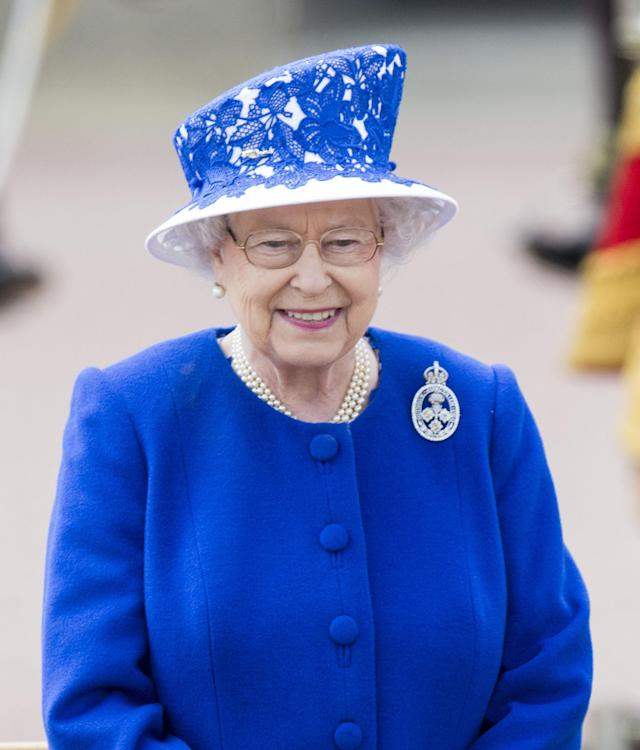 LONDON, ENGLAND - JUNE 15: Queen Elizabeth II during the annual Trooping The Colour ceremony at Buckingham Palace on June 15, 2013 in London, England. (Photo by Mark Cuthbert/UK Press via Getty Images)