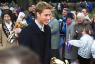 Prince William couldn't help but beam as members of the public wished him Merry Christmas in 2000. Photo: Getty Images