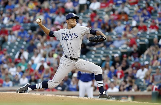 Tampa Bay Rays starting pitcher Chris Archer (22) throws during the third inning of a baseball game against the Texas Rangers, Wednesday, Aug. 13, 2014, in Arlington, Texas. (AP Photo/Brandon Wade)