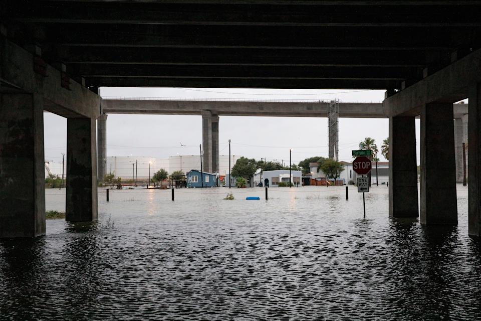 High water fills the streets on Corpus Christi North Beach morning after Hurricane Hanna Sunday, July 26, 2020.