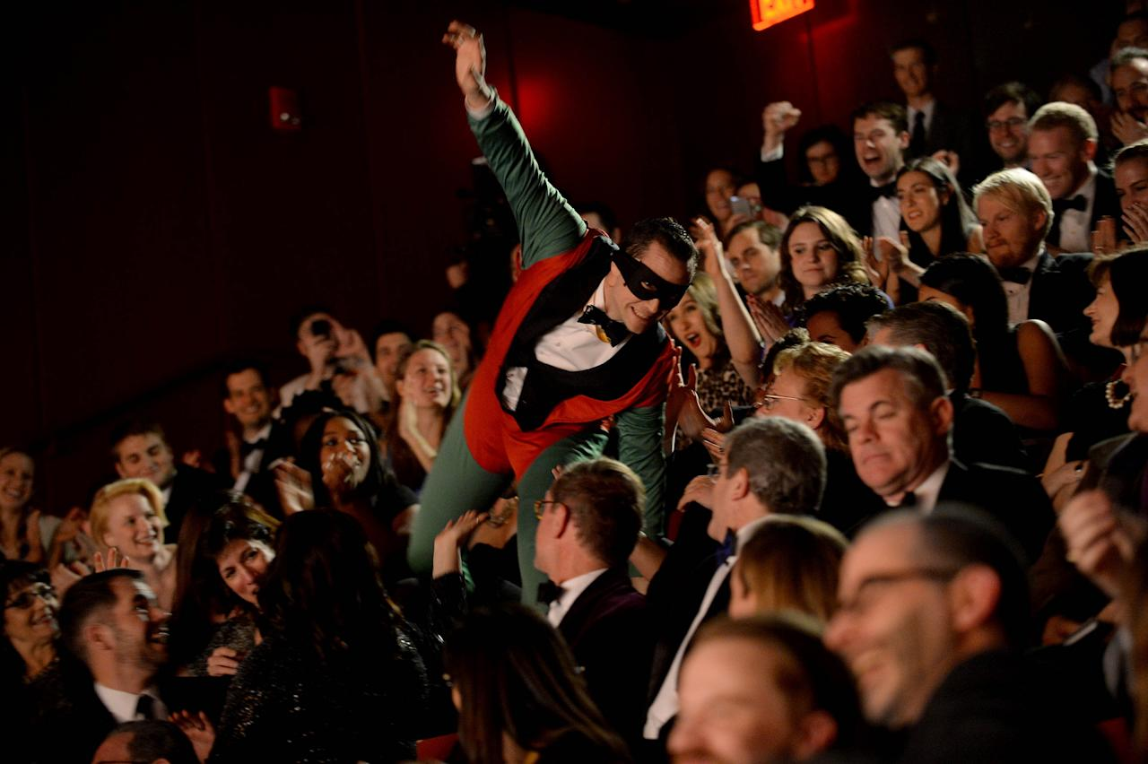 CAMBRIDGE - FEBRUARY 5: Joseph Gordon-Levitt goes into the crowd during the Hasty Pudding Theatricals Hasty Pudding Man of the Year award February 5, 2016 in Cambridge, Massachusetts. . (Photo by Darren McCollester/Getty Images for Hasty Pudding Institute of 1770)
