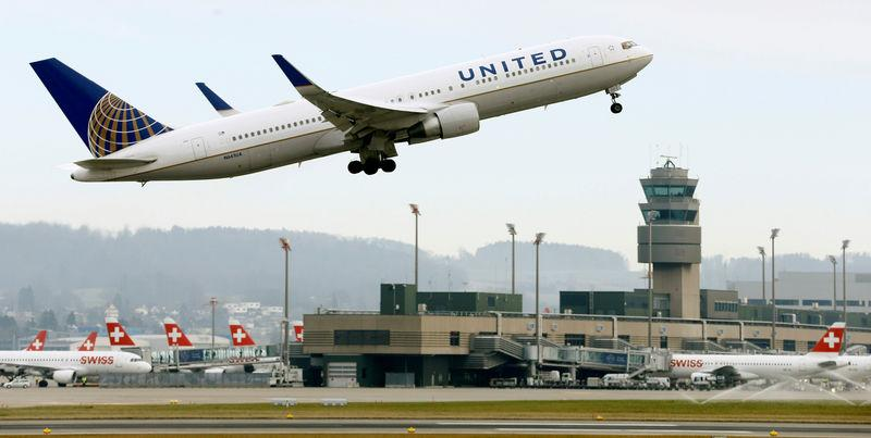 FILE PHOTO: United Airlines Boeing 767 aircraft takes off from Zurich Airport