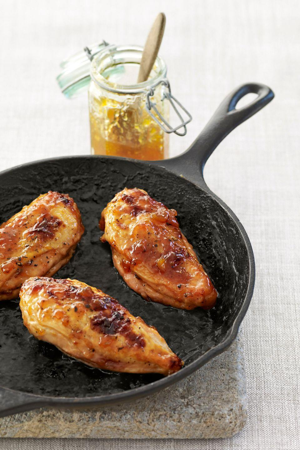"""<p>This sweet-and-savory glaze adds new flavor to a classic baked chicken.</p><p><strong><a href=""""https://www.countryliving.com/food-drinks/recipes/a2797/floras-jam-glazed-chicken-recipe/"""" rel=""""nofollow noopener"""" target=""""_blank"""" data-ylk=""""slk:Get the recipe"""" class=""""link rapid-noclick-resp"""">Get the recipe</a>.</strong></p>"""
