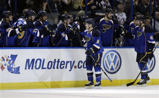 St. Louis Blues' Jaden Schwartz (9) celebrates with teammates on the bench after scoring a goal in the first period of an NHL hockey game against the Chicago Blackhawks, Saturday, April 27, 2013 in St. Louis.(AP Photo/Tom Gannam)