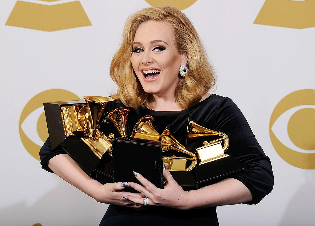And the winner is ... Adele! The 23-year-old British songstress won a whopping six Grammy awards Sunday night, one in every category she was nominated in. The sweep means she's now tied Beyonce for the most Grammys won in one night. You go girl! (2/12/2012)