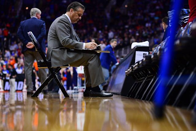 John Calipari couldn't lead Kentucky to the Final Four, and with the NCAA set to change the one-and-done rule, he might follow some of those future players into the NBA. (Getty)