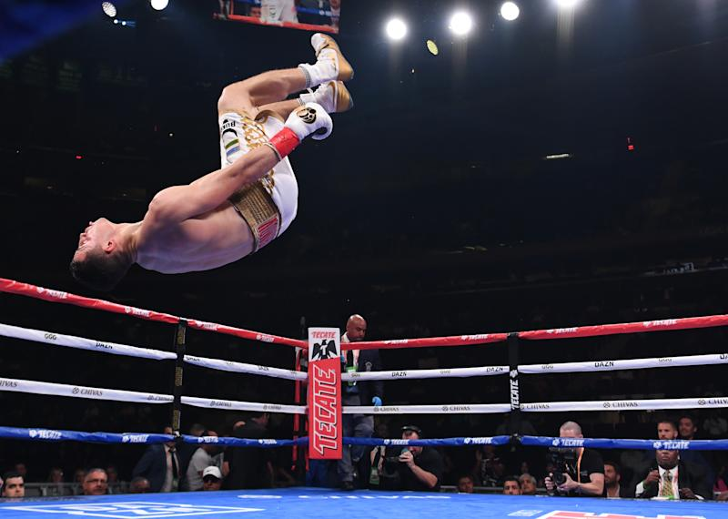 NEW YORK, NEW YORK - JUNE 08: Israil Madrimov of Uzbekistan reacts after winning by knockout in the sixth round against Norberto Gonzalez of Mexico during their Junior Middleweights fight at Madison Square Garden on June 08, 2019 in New York City. (Photo by Sarah Stier/Getty Images)