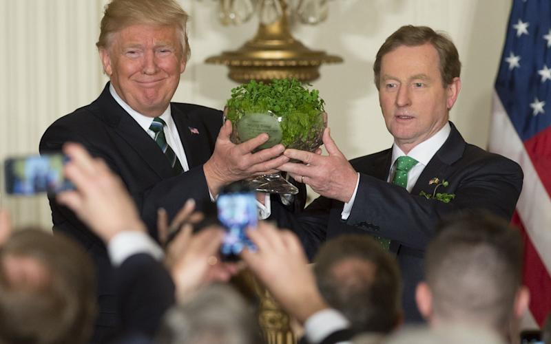 US President Donald Trump receives a traditional bowl of shamrocks from Taoiseach of Ireland Enda Kenny - Credit: AFP