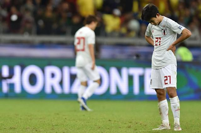 Japan's Takefusa Kubo reacts after drawing 1-1 with Ecuador and thus failing to reach the quarter-finals of the Copa America (AFP Photo/Douglas Magno )