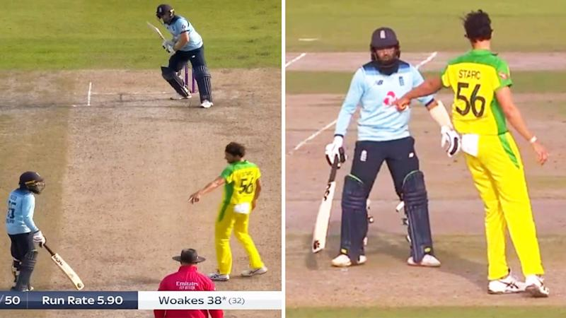 Mitchell Starc points to the crease to warn Adil Rashid (pictured) for leaving before he has bowled.
