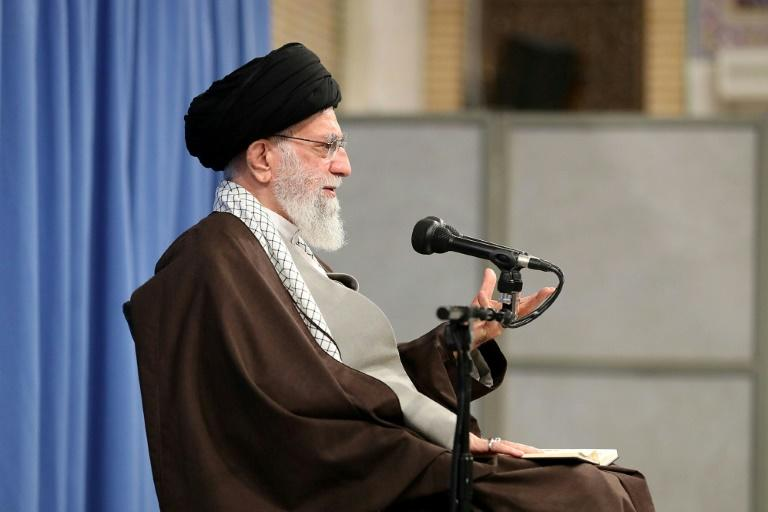 "Iran's supreme leader Ayatollah Ali Khamenei threw his support behind a decision to impose petrol price hikes and blamed ""hooligans"" for damaging property (AFP Photo/-)"
