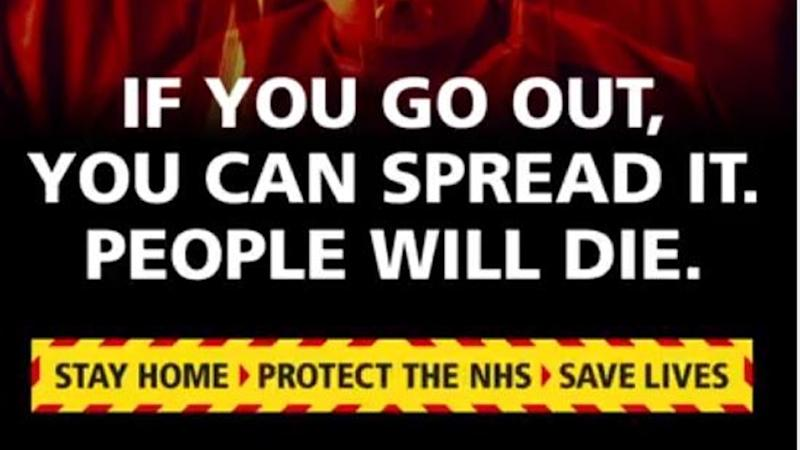 Stay at home or 'people will die' – Government launches new coronavirus ad blitz