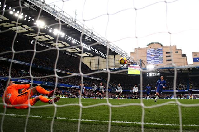 Eden Hazard used Antonin Panenka's famous penalty technique on Panenka's 69th birthday. (Getty)