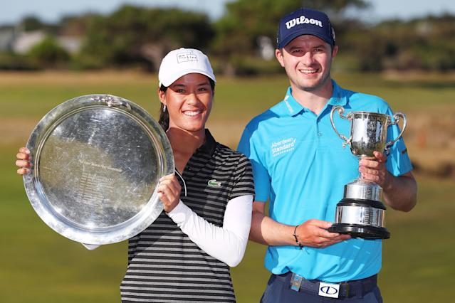 """<div class=""""caption""""> Celine Boutier of France and David Law of Scotland pose with their winners trophies after claiming the women's and men's titles at the 2019 ISPS Handa Vic Open. </div> <cite class=""""credit"""">Michael Dodge/Getty Images</cite>"""