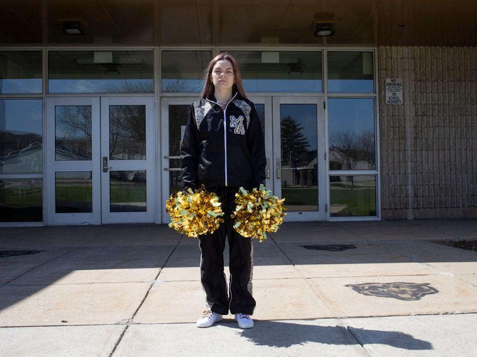 Brandi Levy, a former cheerleader at Mahanoy Area High School, poses in an undated photograph provided by the American Civil Liberties Union.   (American Civil Liberties Union via REUTERS)