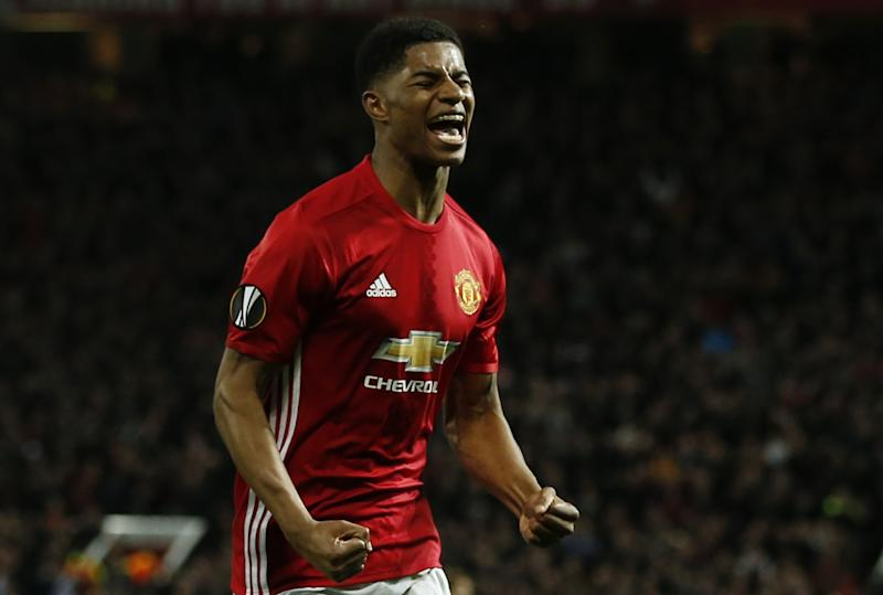 Marcus Rashford celebrates the winner at Old Trafford