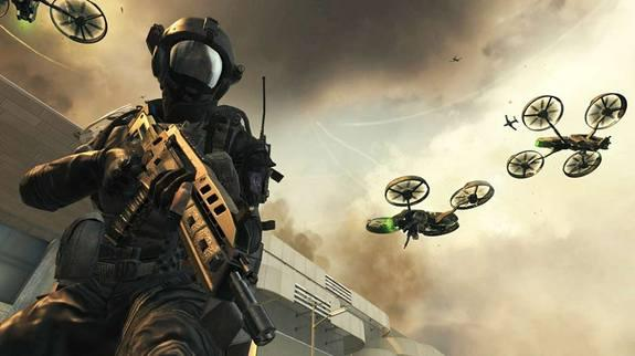 A futuristic soldier stands beneath several armed quadrotor drones in the 2025 setting of the upcoming Call of Duty game.