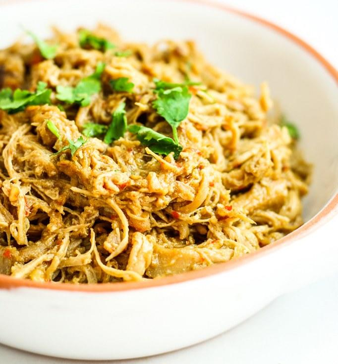 """<p>Eat this tender, shredded chicken in tacos, sandwiches, lettuce wraps, or straight up in a bowl. Lemongrass and green curry paste give it most of its flavor—add a couple Thai chiles if you want to turn up the heat. Get the recipe <a rel=""""nofollow"""" href=""""http://thefitchen.com/easy-crockpot-thai-chicken?mbid=synd_yahoofood"""">here</a>.</p>"""