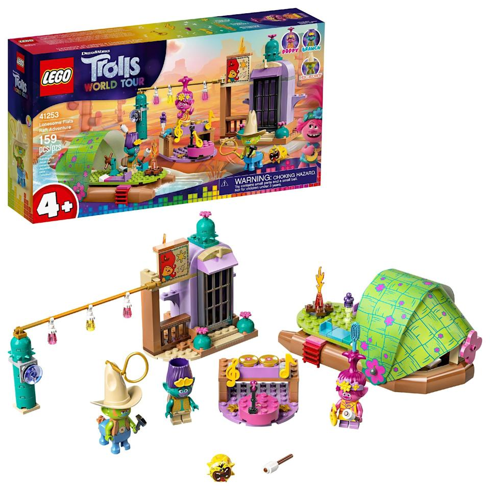 "<p>The <span>Lego Trolls World Tour Lonesome Flats Raft Adventure Set</span> ($24) has 159 pieces and is best suited for kids ages 4 and up.</p> <p>Related: <a href=""https://www.popsugar.com/family/trolls-world-tour-lego-sets-47088776?utm_medium=partner_feed&utm_source=smartnews&utm_campaign=related%20link"" rel=""nofollow noopener"" target=""_blank"" data-ylk=""slk:Lego Released 7 New Trolls World Tour Sets, and Look at the Princess Poppy Minifigure!"" class=""link rapid-noclick-resp"">Lego Released 7 New Trolls World Tour Sets, and Look at the Princess Poppy Minifigure!</a></p>"