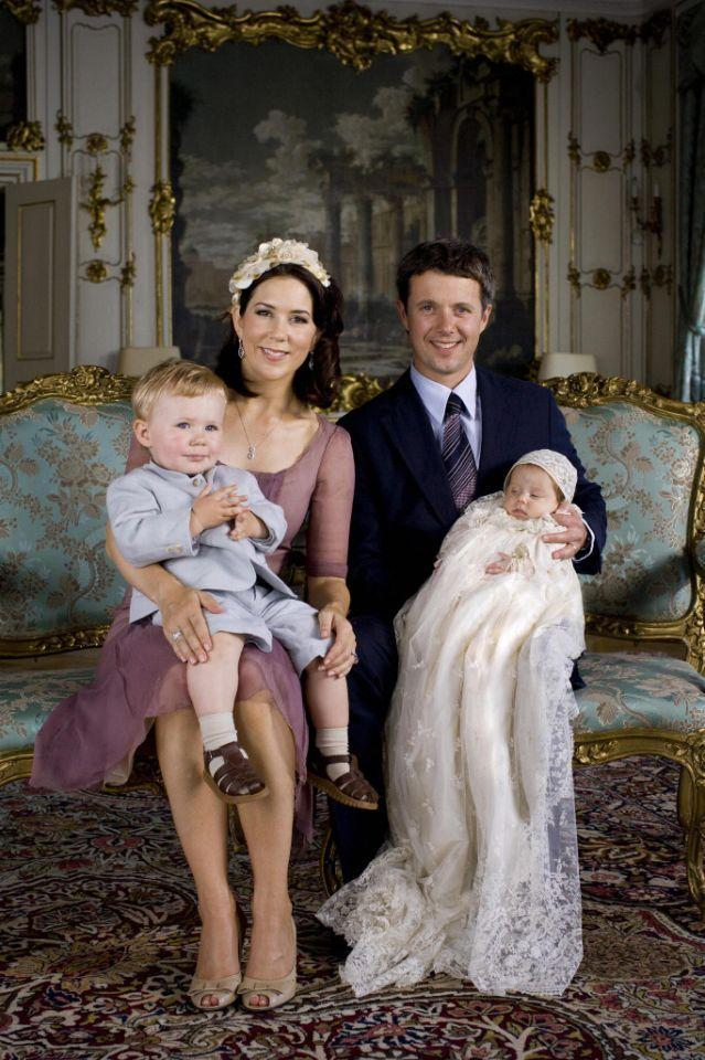 <p>July 2007: Mary and Frederik pose with Christian and baby number two, three-month-old Princess Isabella, at her christening. Photo: Getty Images.</p>