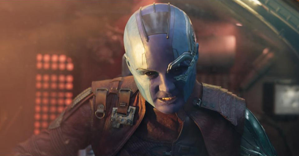 <p>Gamora's cybernetic sorta sister is back — and while she's still surly, she will spend at least part of the movie allied with the Guardians. (Photo: Marvel) </p>