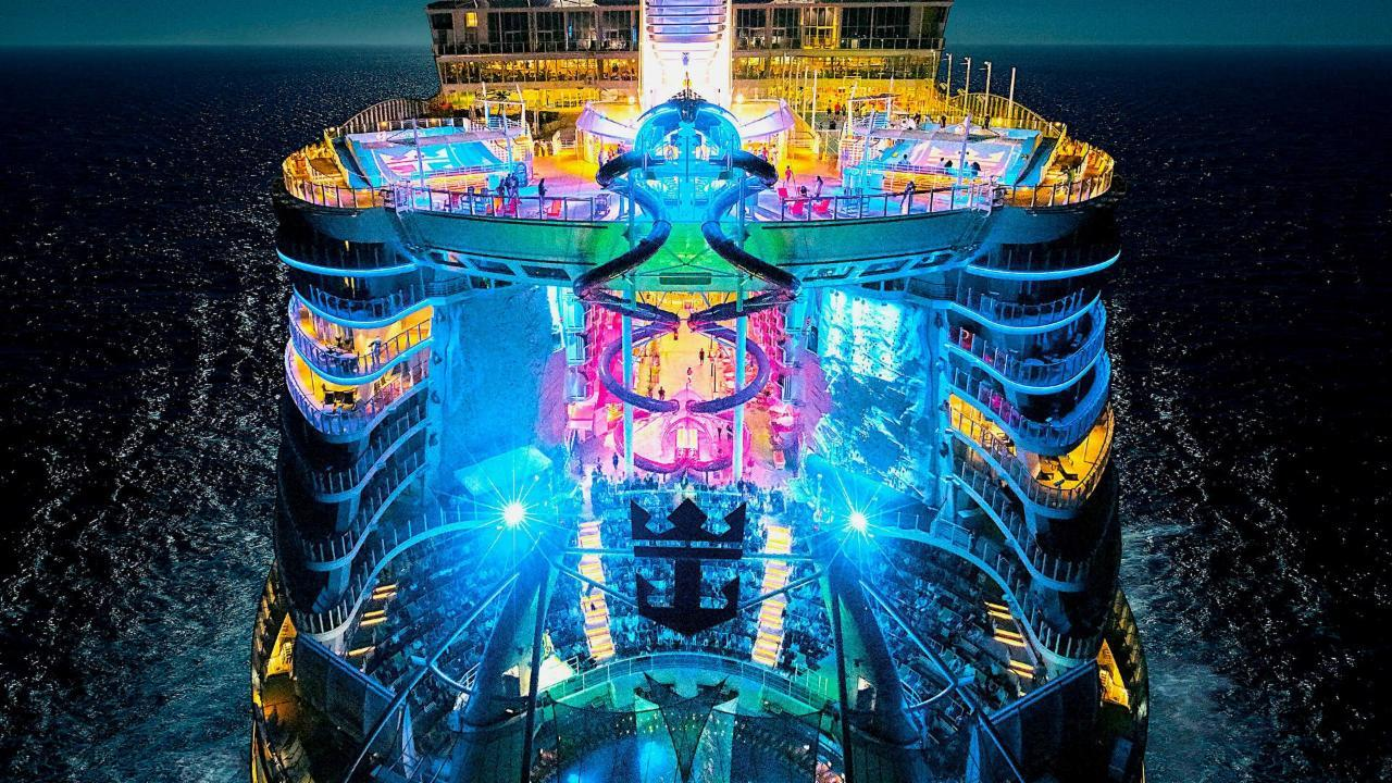 Royal Caribbean's Symphony Of The Seas was floated out from a dry dock at the giant STX shipbuilding facility in St. Nazaire, France, where it has been under construction for more than a year. The float out marks the end of exterior work on the ship. It now will undergo months of finishing work to its interior before its maiden voyage next year.