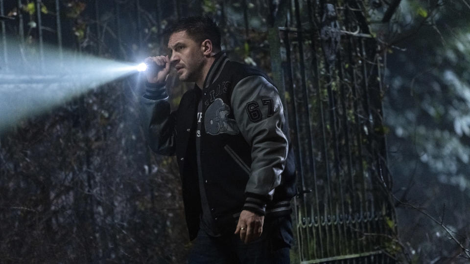 """This image released by Sony Pictures shows Tom Hardy in a scene from """"Venom: Let There Be Carnage."""" (Jay Maidment/Sony Pictures Entertainment via AP)"""