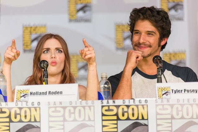 SAN DIEGO, CA - JULY 18: Actors Holland Roden (L) and Tyler Posey attend the Teen Wolf panel during Comic-Con International 2013 on July 18, 2013 in San Diego, California. (Photo by Paul A. Hebert/WireImage)