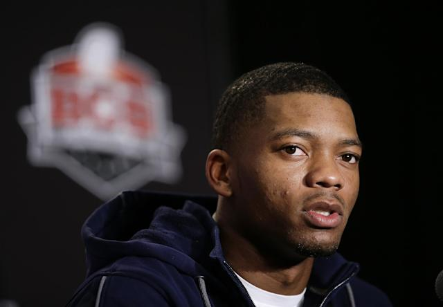 Auburn quarterback Nick Marshall speaks during a news conference on Thursday, Jan. 2, 2014, in Newport Beach, Calif. Auburn is scheduled to play Florida State on Monday, Jan. 6, in the BCS national championship NCAA college football game. (AP Photo/Jae C. Hong)