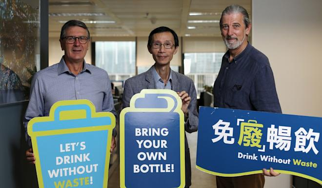 (Left to right) Jeff Maguire, from Coca-Cola Amatil, Edwin Lau, from The Green Earth and Paul Zimmerman, of Drink Without Waste, are part of the push to introduce a bottle deposit scheme to Hong Kong to slash drink-related waste. Photo: Xiaomei Chen