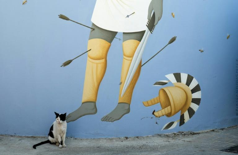A cat sits next to a mural by the Greek artist Fikos in Nicosia's Old City depicting King Onesilus