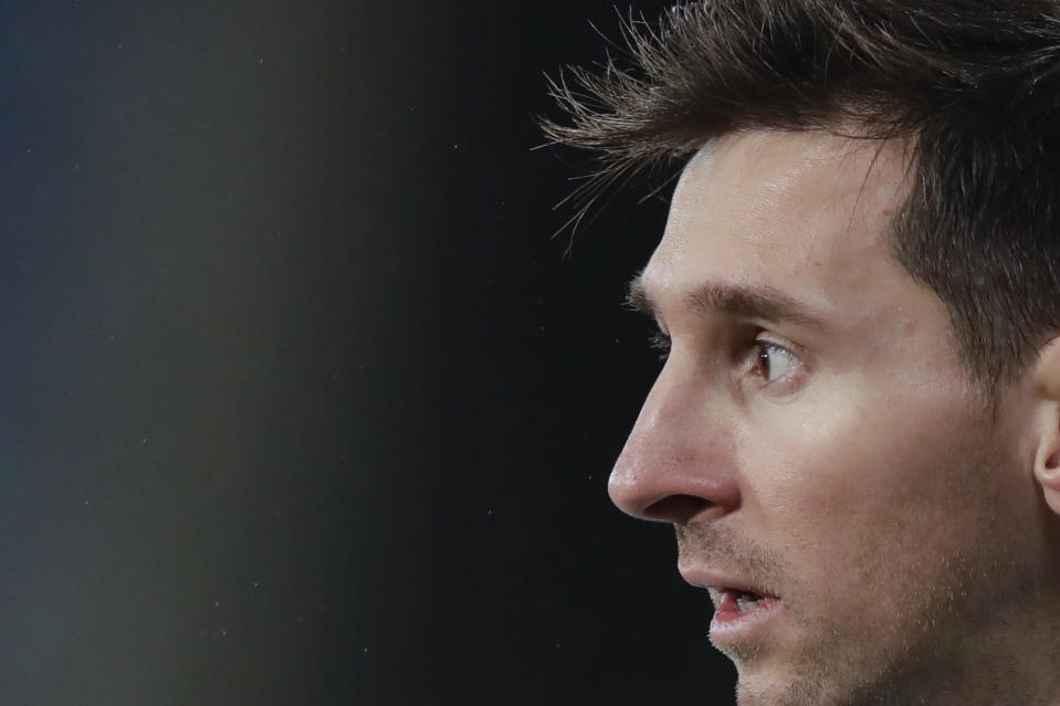 Argentina's Lionel Messi looks on during a Copa America soccer match against Bolivia at Arena Pantanal stadium in Cuiaba, Brazil, Monday, June 28, 2021. (AP Photo/Andre Penner)