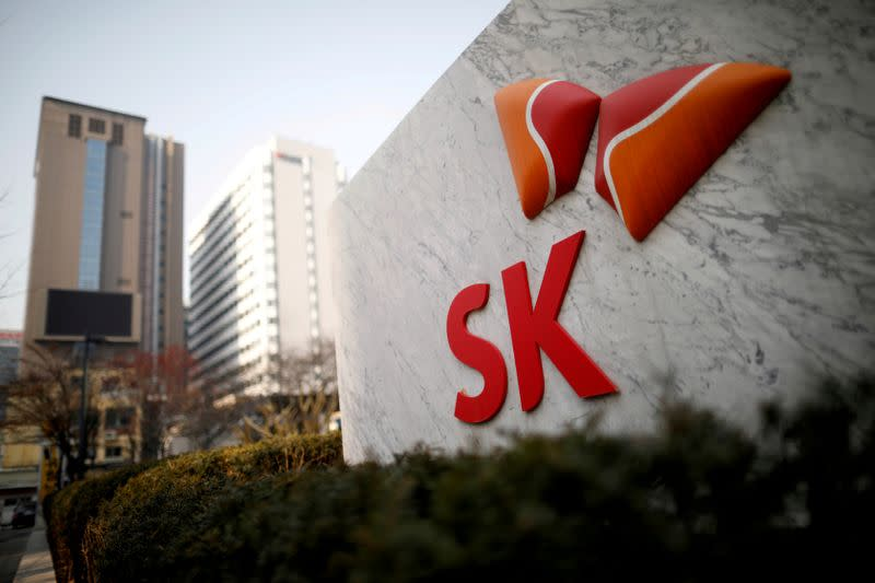 FILE PHOTO: The logo of SK Innovation is seen in front of its headquarters in Seoul