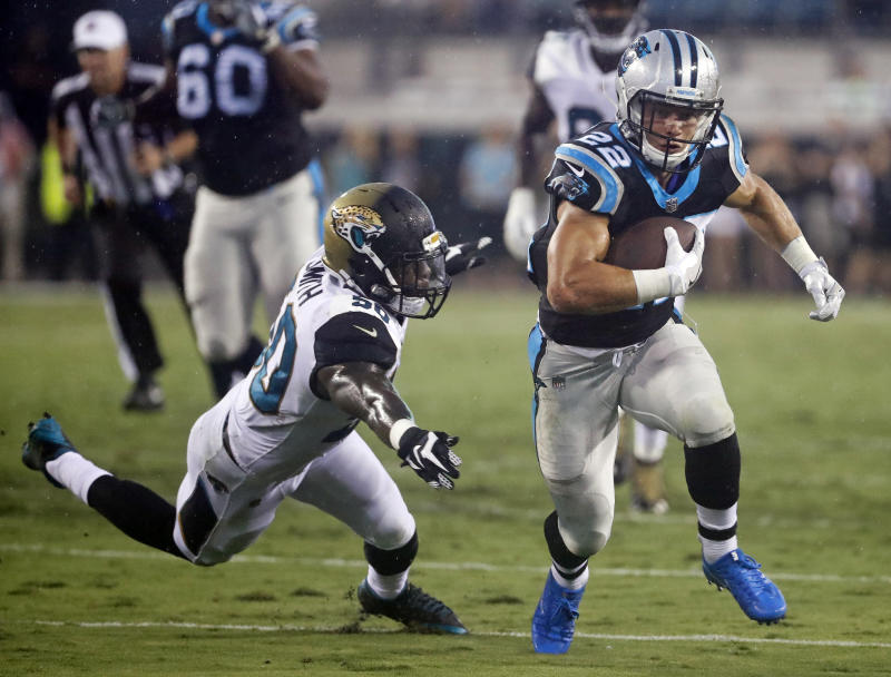Carolina Panthers running back Christian McCaffrey could have a big rookie season. (AP)