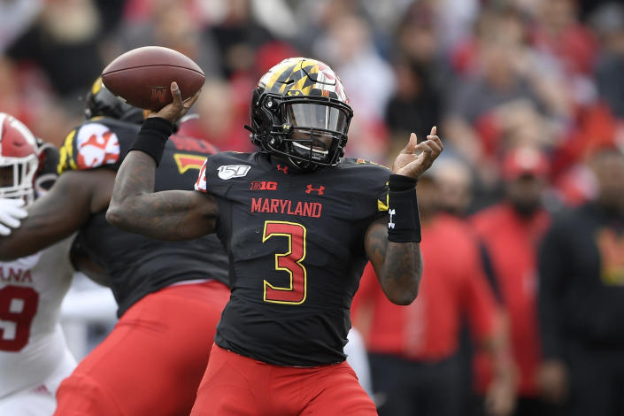 Maryland quarterback Tyrrell Pigrome (3) passes during the first half of an NCAA college football game against Indiana, Saturday, Oct. 19, 2019, in College Park, Md. (AP Photo/Nick Wass)
