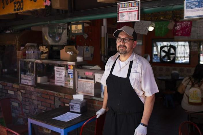Edward Flores, owner of Juanita's Cafe, photographed at Olvera Street, on April 18th, 2021. (James Bernal for the Reveal/LA Times)