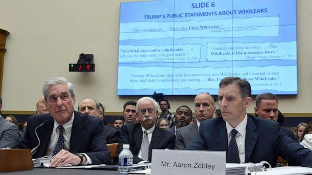PHOTO: Former Special Counsel Robert Mueller, with former Deputy Special Counsel Aaron Zebley testifies about his report into Russian interference in the election during a House Select Committee on Intelligence hearing, July 24, 2019, July 24, 2019. (Andrew Caballero-Reynolds/AFP/Getty Images)