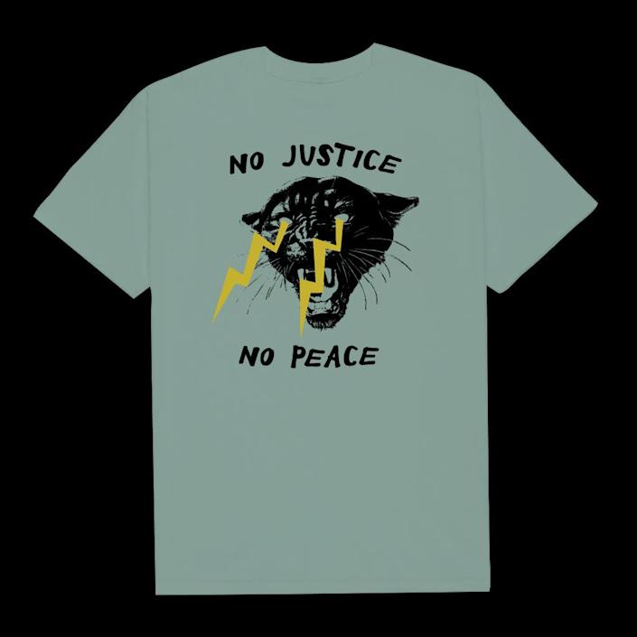 "Get the <a href=""https://philadelphia-printworks.myshopify.com/collections/products/products/no-justice-no-peace-5"" rel=""nofollow noopener"" target=""_blank"" data-ylk=""slk:&quot;No Justice, No Peace&quot; T-shirt from Philadelphia Printworks for $25"" class=""link rapid-noclick-resp""> ""No Justice, No Peace"" T-shirt from Philadelphia Printworks for $25</a>"
