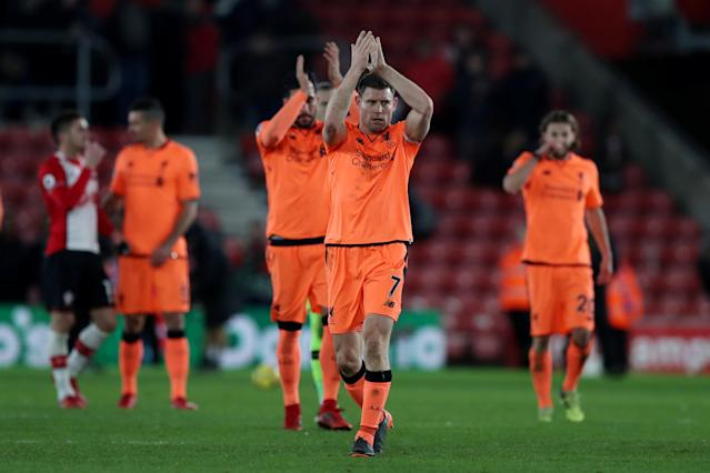 "Soccer Football - Premier League - Southampton vs Liverpool - St Mary's Stadium, Southampton, Britain - February 11, 2018 Liverpool's James Milner and Emre Can applaud the fans at the end of the match Action Images via Reuters/Peter Cziborra EDITORIAL USE ONLY. No use with unauthorized audio, video, data, fixture lists, club/league logos or ""live"" services. Online in-match use limited to 75 images, no video emulation. No use in betting, games or single club/league/player publications. Please contact your account representative for further details."