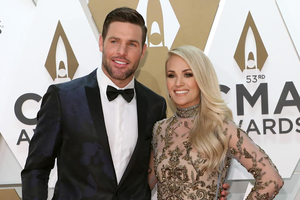 NASHVILLE, TENNESSEE - NOVEMBER 13: (FOR EDITORIAL USE ONLY)  Mike Fisher and Carrie Underwood attend the 53nd annual CMA Awards at Bridgestone Arena on November 13, 2019 in Nashville, Tennessee. (Photo by Taylor Hill/Getty Images)