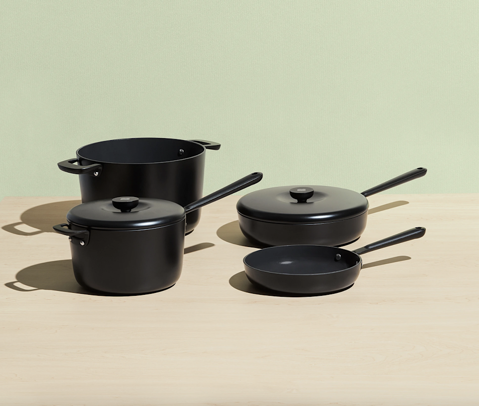 """<h2>The Cookware Set</h2><br>A complete set of sleek non-stick, non-toxic ceramic pots and pans with two lids.<br><br><strong>Equal Parts</strong> The Cookware Set, $, available at <a href=""""https://go.skimresources.com/?id=30283X879131&url=https%3A%2F%2Fequalparts.com%2Fproducts%2Fnon-stick-cookware-set%2F%3Fvariant%3D29554221318209"""" rel=""""nofollow noopener"""" target=""""_blank"""" data-ylk=""""slk:Equal Parts"""" class=""""link rapid-noclick-resp"""">Equal Parts</a>"""