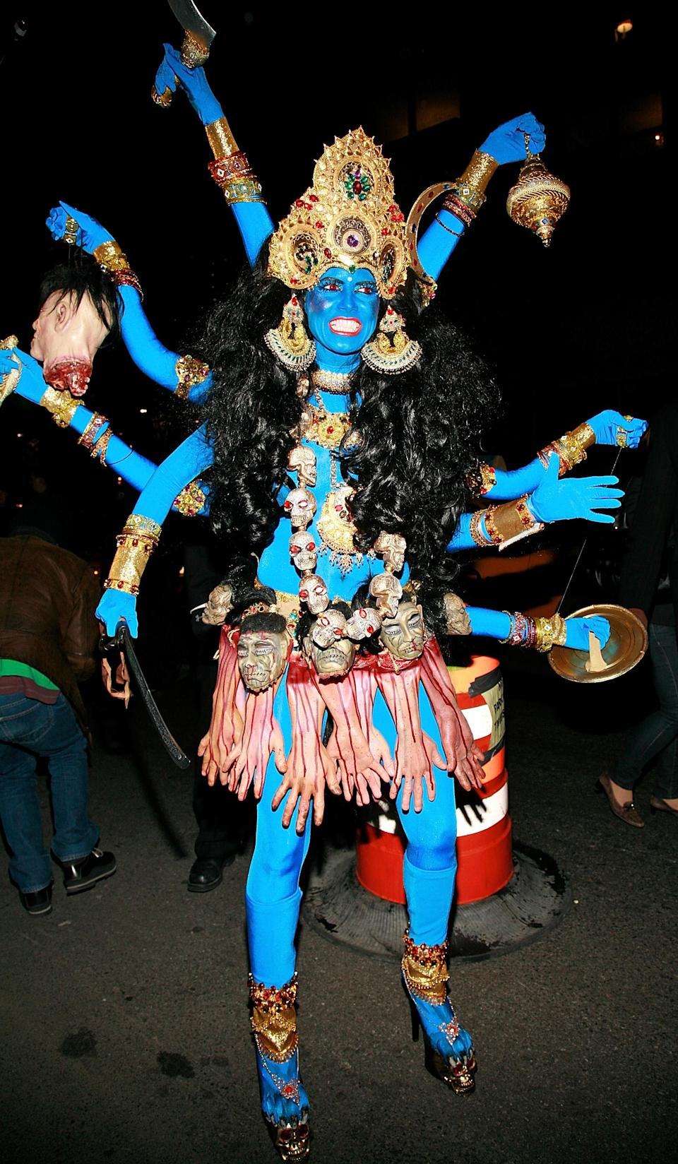 <p>Heidi Klum – also known as the unofficial Queen of Halloween – received a backlash in 2008 after transforming herself into Kali, the Hindu goddess of destruction. Painting herself blue and wearing eight arms as well as severed hands around her waist, Heidi was told off by leaders in the Hindu community.<br><i>[Photo: Getty]</i> </p>