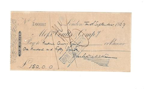 An 1869 cheque paid by Dickens - Credit: Charles Dickens Museum