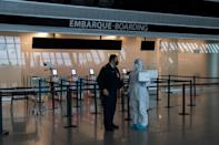 Health workers have been carrying out tests in airports, like here in Uruguay