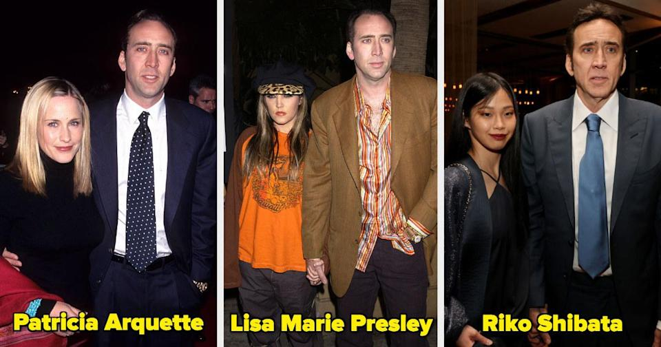 Nicolas Cage with two ex-wives and his current wife
