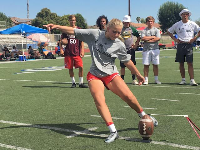 High school sophomore Elise Chaffin dreams of kicking for Navy or Air Force someday. (Photo courtesy ofChris Sailer)